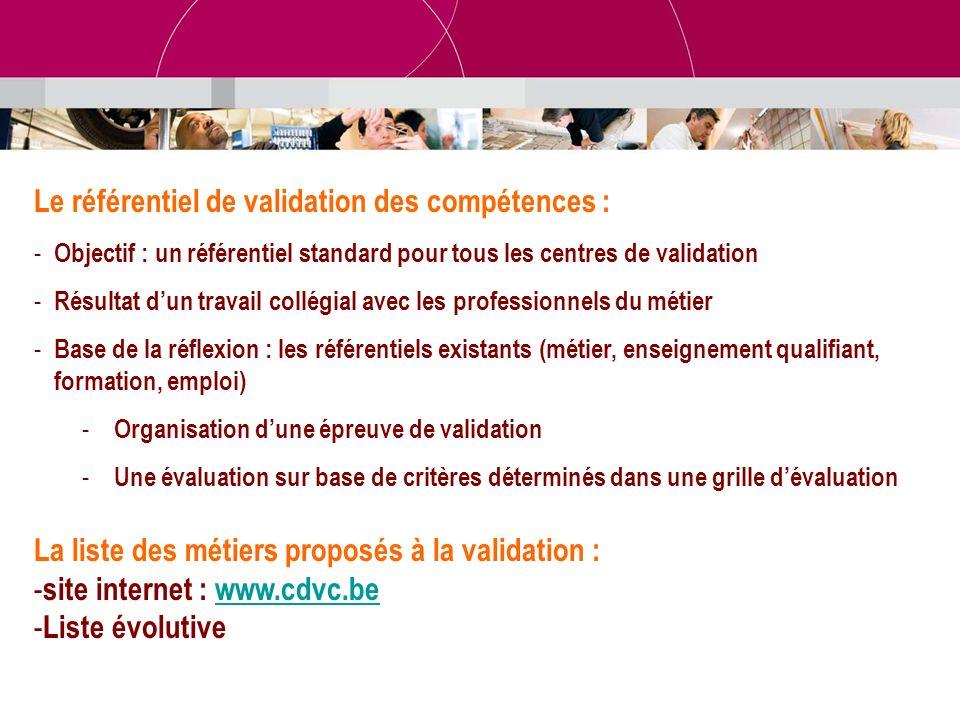 Le référentiel de validation des compétences : - Objectif : un référentiel standard pour tous les centres de validation - Résultat dun travail collégi