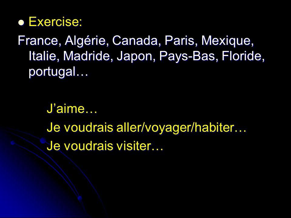 Exercise: Exercise: France, Algérie, Canada, Paris, Mexique, Italie, Madride, Japon, Pays-Bas, Floride, portugal… Jaime… Je voudrais aller/voyager/hab