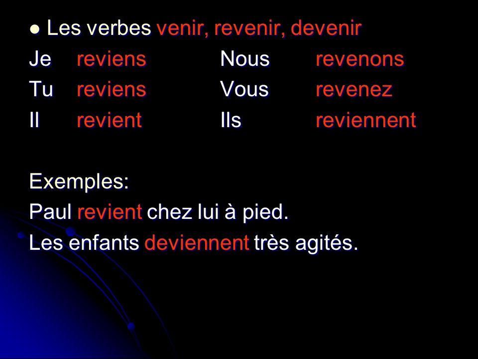Les verbes venir, revenir, devenir Les verbes venir, revenir, devenir JereviensNousrevenons TureviensVousrevenez IlrevientIlsreviennent Exemples: Paul