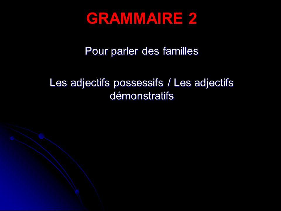 Pour parler des familles Les adjectifs possessifs / Les adjectifs démonstratifs GRAMMAIRE 2