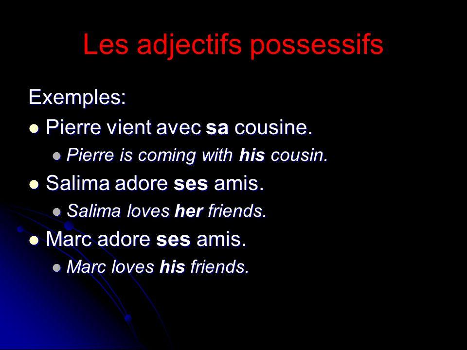 Les adjectifs possessifs Exemples: Pierre vient avec sa cousine. Pierre vient avec sa cousine. Pierre is coming with his cousin. Pierre is coming with