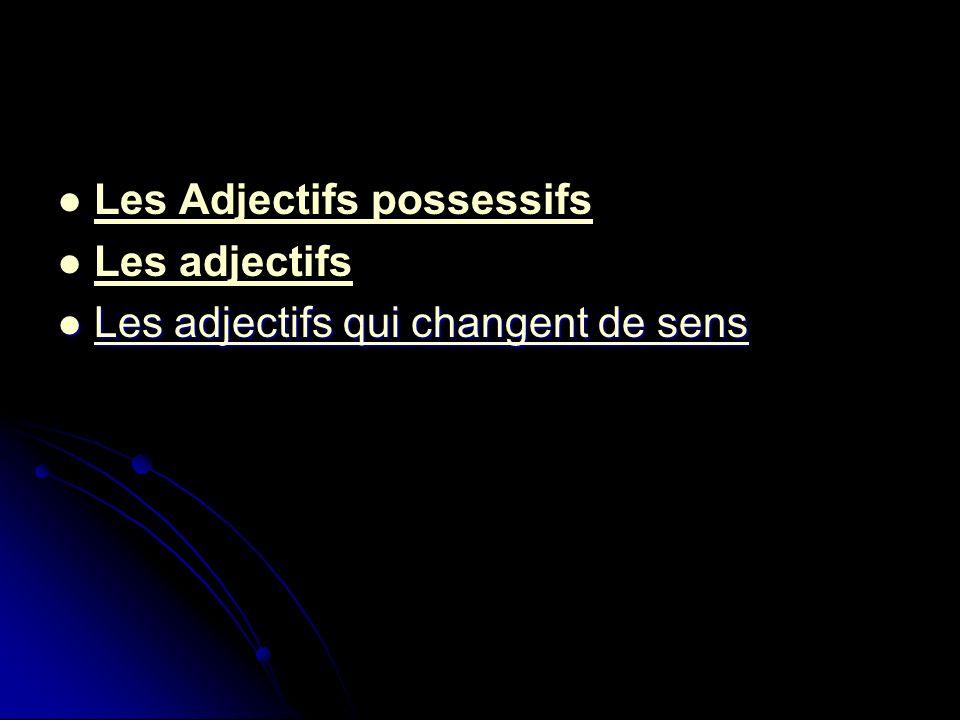 Les Adjectifs possessifs Les adjectifs Les adjectifs qui changent de sens Les adjectifs qui changent de sens Les adjectifs qui changent de sens Les ad