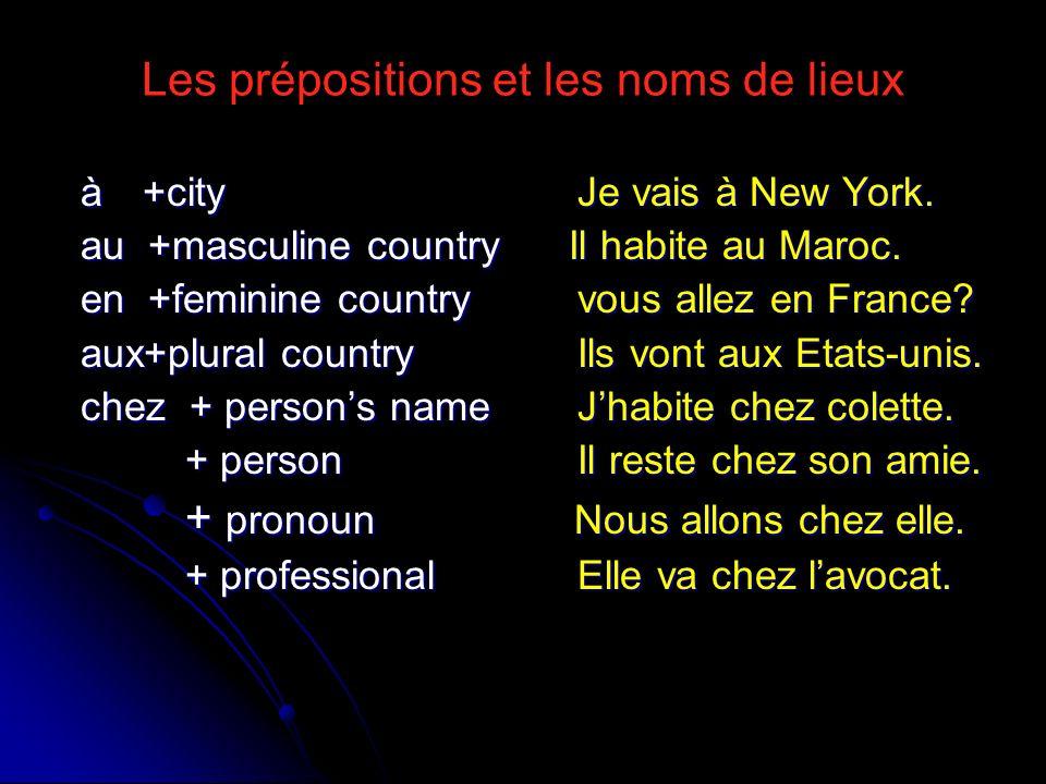 Les prépositions et les noms de lieux à +city Je vais à New York. au +masculine country Il habite au Maroc. en +feminine country vous allez en France?