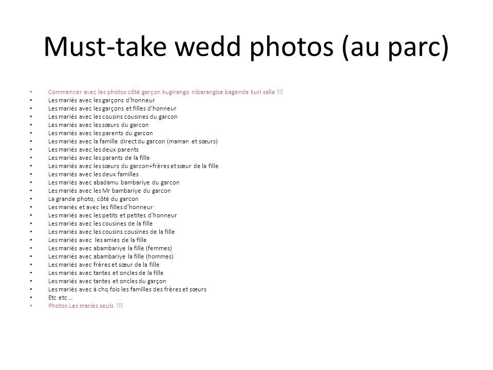 Must-take wedd photos (au parc) Commencer avec les photos côté garçon kugirango nibarangize bagende kuri salle !!.