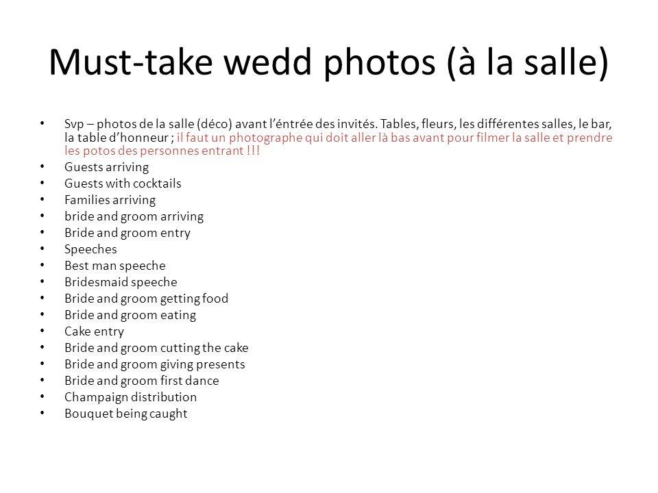 Must-take wedd photos (à la salle) Svp – photos de la salle (déco) avant léntrée des invités.