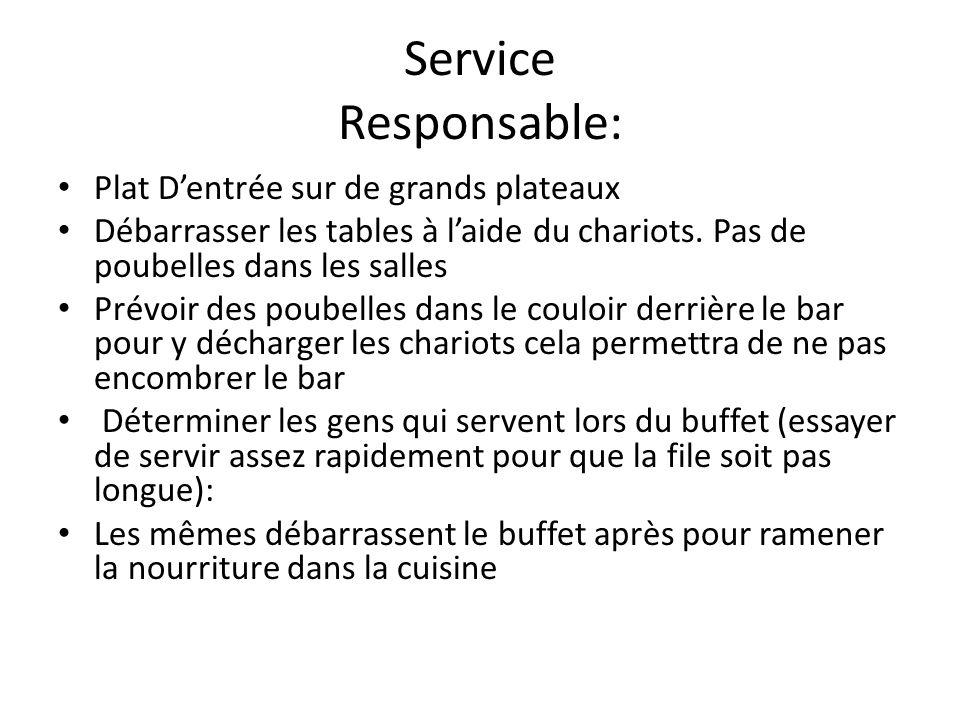Service Responsable: Plat Dentrée sur de grands plateaux Débarrasser les tables à laide du chariots.