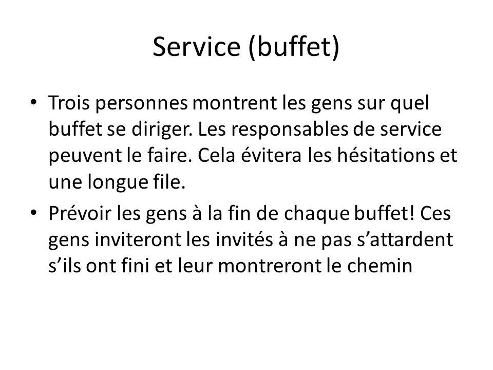 Service (buffet) Trois personnes montrent les gens sur quel buffet se diriger.