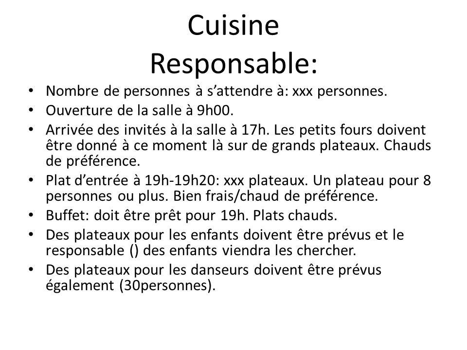 Cuisine Responsable: Nombre de personnes à sattendre à: xxx personnes.