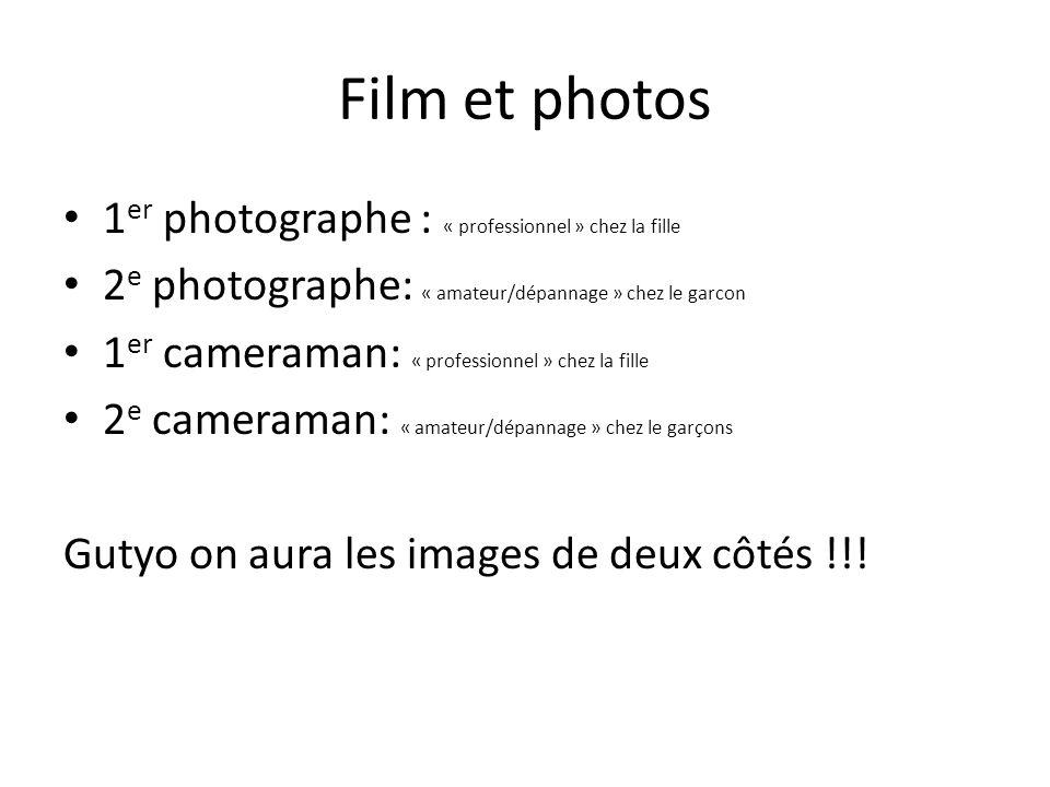 Film et photos 1 er photographe : « professionnel » chez la fille 2 e photographe: « amateur/dépannage » chez le garcon 1 er cameraman: « professionnel » chez la fille 2 e cameraman: « amateur/dépannage » chez le garçons Gutyo on aura les images de deux côtés !!!