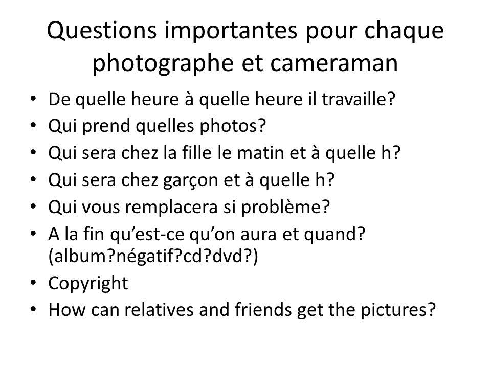 Questions importantes pour chaque photographe et cameraman De quelle heure à quelle heure il travaille.