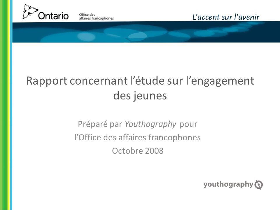 Rapport concernant létude sur lengagement des jeunes Préparé par Youthography pour lOffice des affaires francophones Octobre 2008