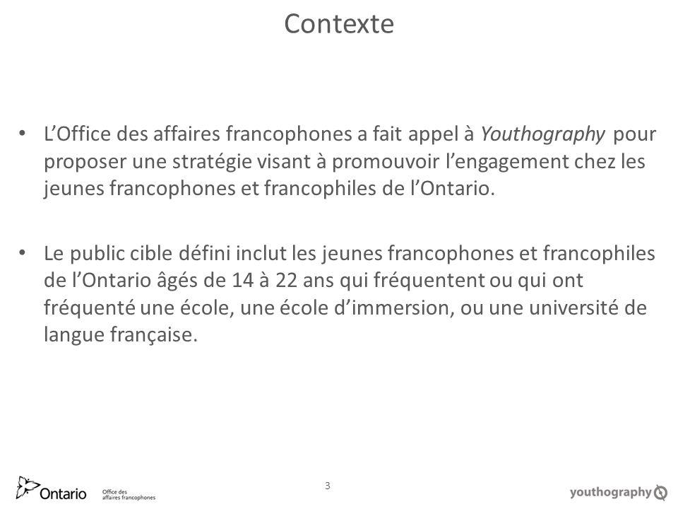 Contexte LOffice des affaires francophones a fait appel à Youthography pour proposer une stratégie visant à promouvoir lengagement chez les jeunes francophones et francophiles de lOntario.