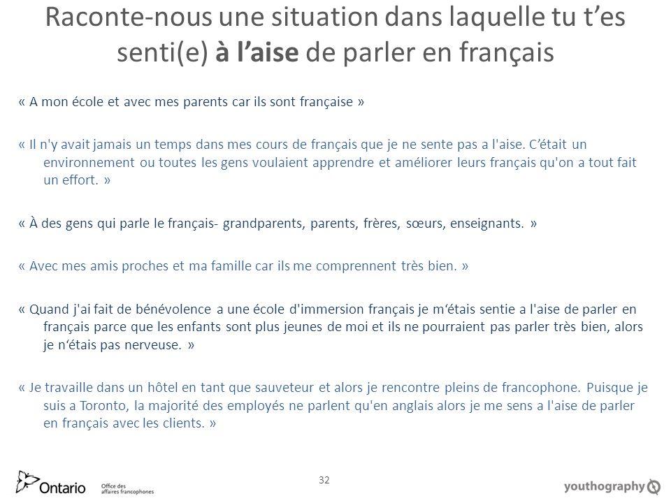 Raconte nous une situation dans laquelle tu tes senti(e) à laise de parler en français « A mon école et avec mes parents car ils sont française » « Il n y avait jamais un temps dans mes cours de français que je ne sente pas a l aise.