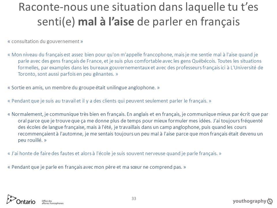 Raconte nous une situation dans laquelle tu tes senti(e) mal à laise de parler en français « consultation du gouvernement » « Mon niveau du français est assez bien pour qu on m appelle francophone, mais je me sentie mal à l aise quand je parle avec des gens français de France, et je suis plus comfortable avec les gens Québécois.