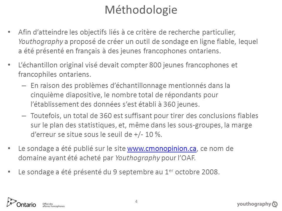 Méthodologie Afin datteindre les objectifs liés à ce critère de recherche particulier, Youthography a proposé de créer un outil de sondage en ligne fiable, lequel a été présenté en français à des jeunes francophones ontariens.