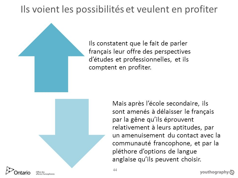 Ils voient les possibilités et veulent en profiter 44 Ils constatent que le fait de parler français leur offre des perspectives détudes et professionnelles, et ils comptent en profiter.