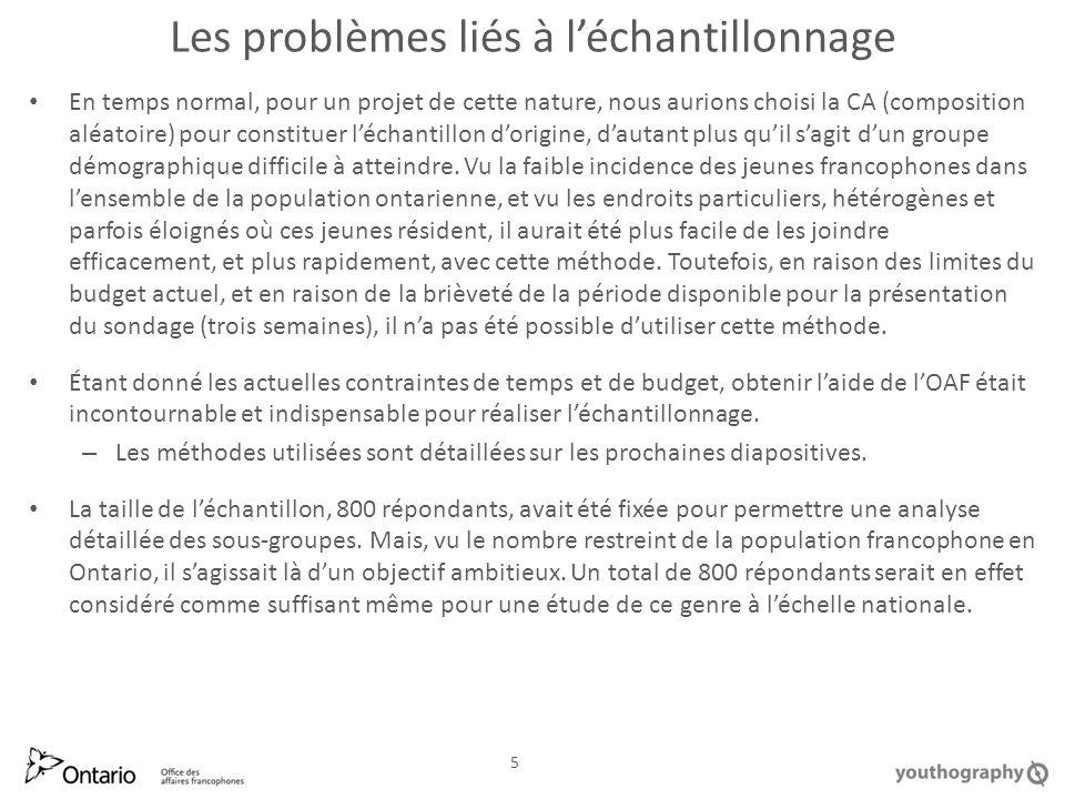 Lâge, une question épineuse Ce sont les francophones de 14-17 ans qui présentent le taux le plus élevé de non-participation aux événements, bien que, à cette période de leur vie, ils utilisent le français plus régulièrement et avec un plus grand degré de confiance que leurs aînés.