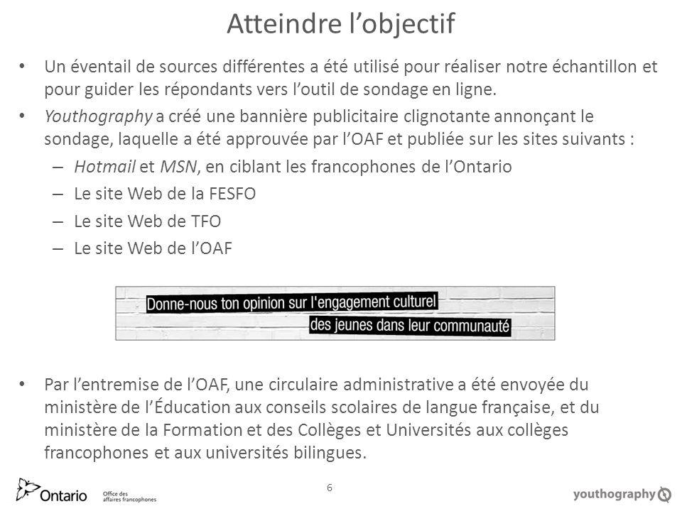 Atteindre lobjectif (suite) LOAF a communiqué directement avec les associations étudiantes de ces institutions : –lUniversité dOttawa –lUniversité Laurentienne –lUniversité de Toronto – Association francophone –lUniversité York – Collège universitaire Glendon –la Cité collégiale –Collège dAlfred –Collège Boréal LOAF a également envoyé des courriels aux : – organismes francophones – employés de lOAF – coordonnateurs de langue française – participants et candidats du programme FLEX – diverses autres personnes-ressources francophones 7