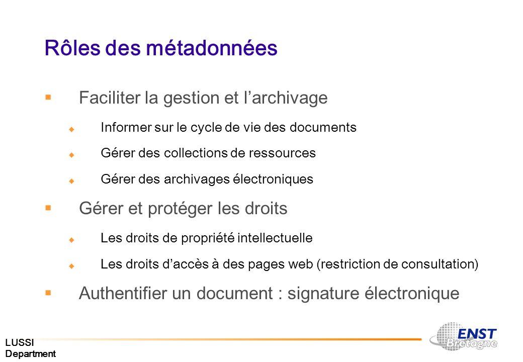 LUSSI Department Rôles des métadonnées Faciliter la gestion et larchivage Informer sur le cycle de vie des documents Gérer des collections de ressourc