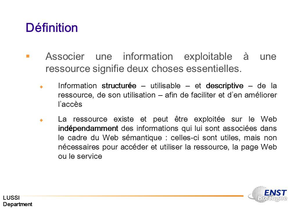 Définition Associer une information exploitable à une ressource signifie deux choses essentielles. Information structur é e – utilisable – et descript