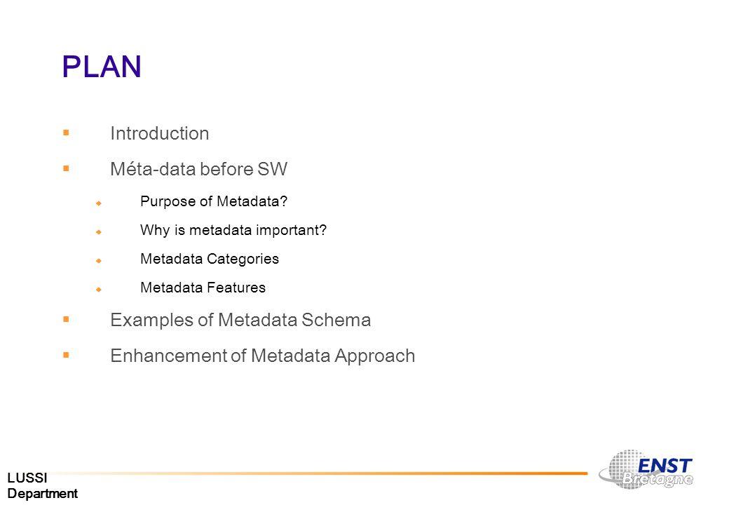 LUSSI Department PLAN Introduction Méta-data before SW Purpose of Metadata? Why is metadata important? Metadata Categories Metadata Features Examples