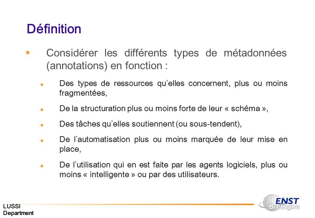 LUSSI Department Définition Consid é rer les diff é rents types de m é tadonn é es (annotations) en fonction : Des types de ressources qu elles concer