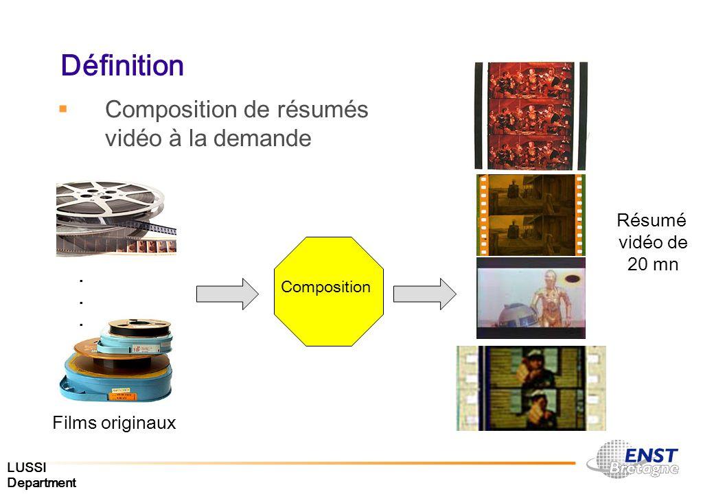 LUSSI Department Définition Composition de résumés vidéo à la demande Composition Résumé vidéo de 20 mn Films originaux......