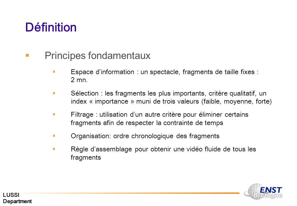 LUSSI Department Définition Principes fondamentaux Espace dinformation : un spectacle, fragments de taille fixes : 2 mn. Sélection : les fragments les