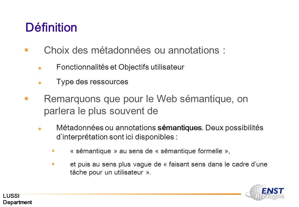 LUSSI Department Définition Choix des m é tadonn é es ou annotations : Fonctionnalit é s et Objectifs utilisateur Type des ressources Remarquons que p