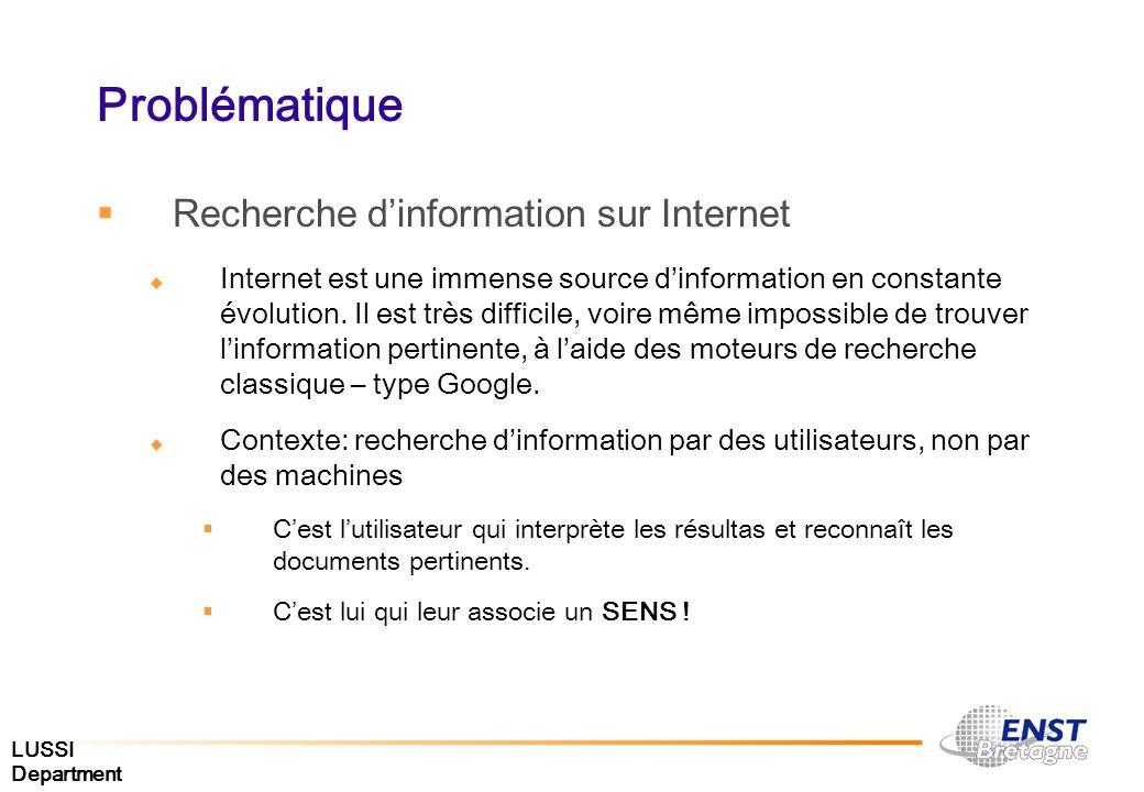 LUSSI Department Problématique Recherche dinformation sur Internet Internet est une immense source dinformation en constante évolution. Il est très di