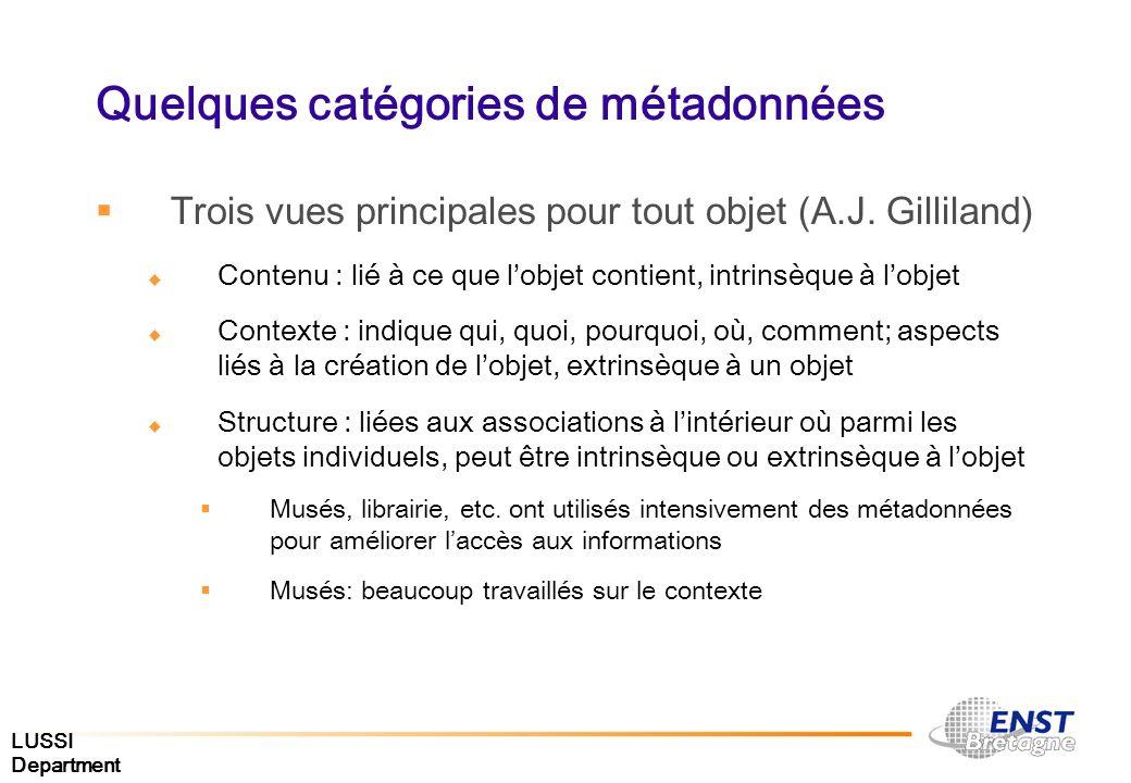 LUSSI Department Quelques catégories de métadonnées Trois vues principales pour tout objet (A.J. Gilliland) Contenu : lié à ce que lobjet contient, in
