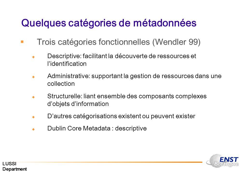 LUSSI Department Quelques catégories de métadonnées Trois catégories fonctionnelles (Wendler 99) Descriptive: facilitant la découverte de ressources e