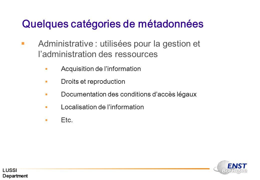 LUSSI Department Quelques catégories de métadonnées Administrative : utilisées pour la gestion et ladministration des ressources Acquisition de linfor