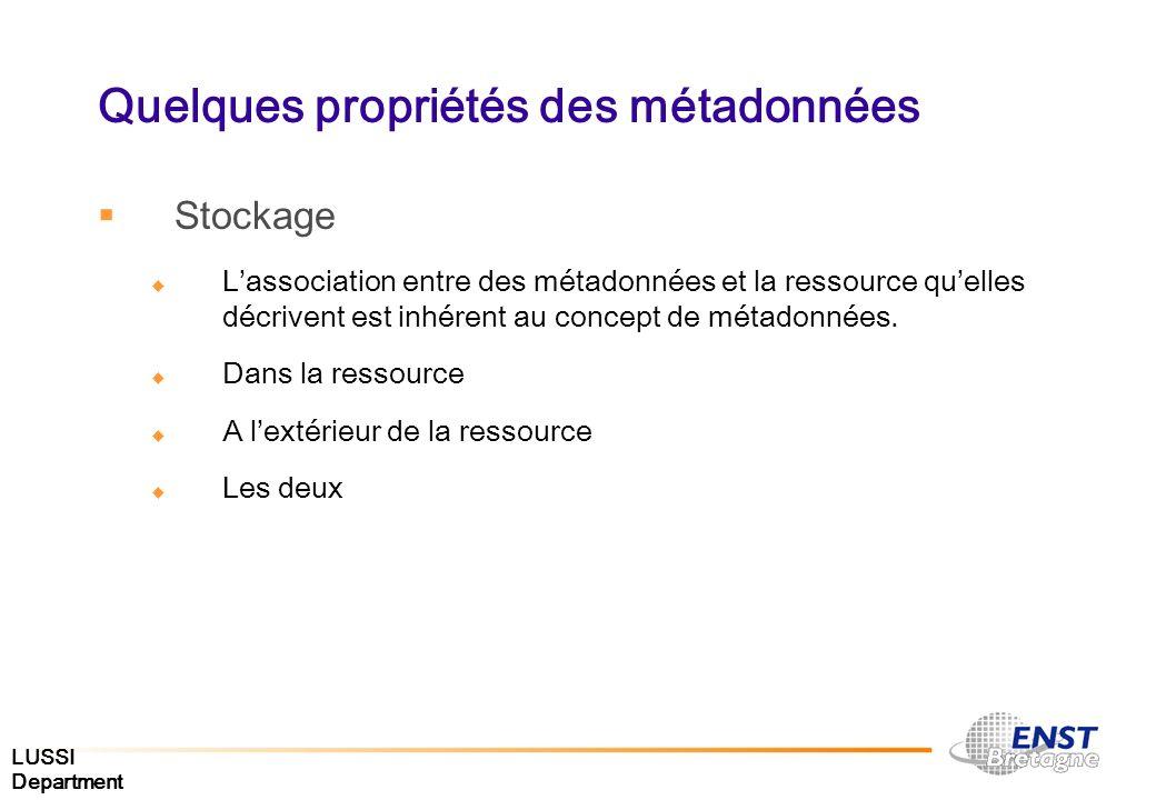 LUSSI Department Quelques propriétés des métadonnées Stockage Lassociation entre des métadonnées et la ressource quelles décrivent est inhérent au con