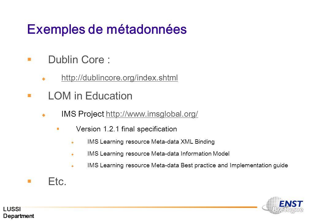 LUSSI Department Exemples de métadonnées Dublin Core : http://dublincore.org/index.shtml LOM in Education IMS Project http://www.imsglobal.org/http://