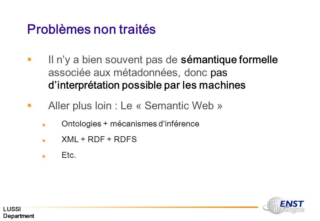 Problèmes non traités Il ny a bien souvent pas de sémantique formelle associée aux métadonnées, donc pas dinterprétation possible par les machines All