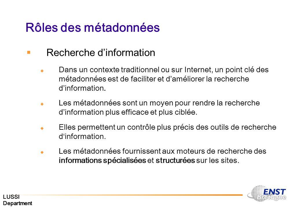 LUSSI Department Rôles des métadonnées Recherche dinformation Dans un contexte traditionnel ou sur Internet, un point clé des métadonnées est de facil
