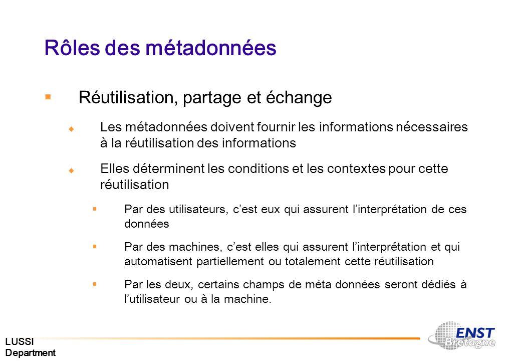 LUSSI Department Rôles des métadonnées Réutilisation, partage et échange Les métadonnées doivent fournir les informations nécessaires à la réutilisati