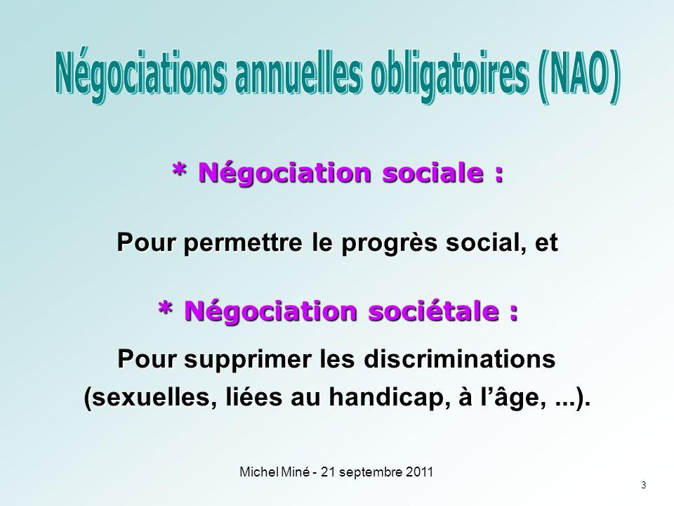 * Négociation sociale : Pour permettre le progrès social, et * Négociation sociétale : Pour supprimer les discriminations (sexuelles, liées au handicap, à lâge,...).