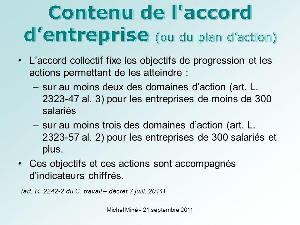 Laccord collectif fixe les objectifs de progression et les actions permettant de les atteindre : –sur au moins deux des domaines daction (art.