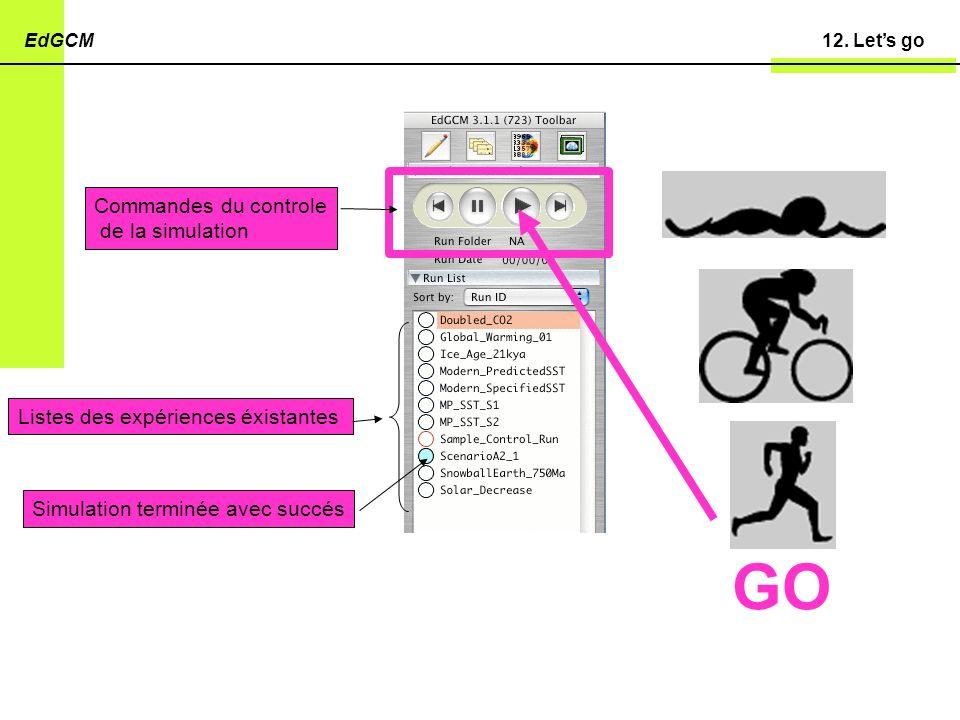 12. Lets goEdGCM Listes des expériences éxistantes Simulation terminée avec succés Commandes du controle de la simulation GO