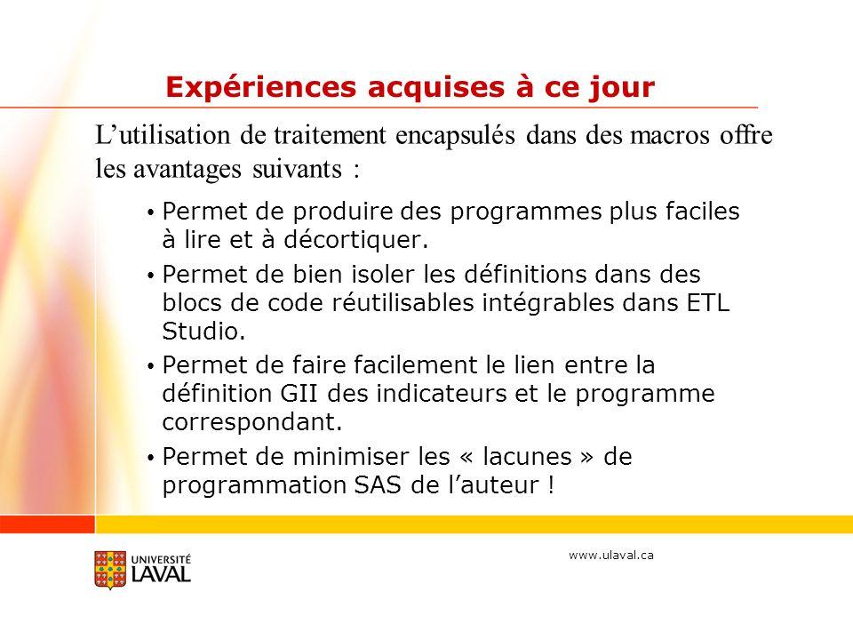 www.ulaval.ca Expériences acquises à ce jour Permet de produire des programmes plus faciles à lire et à décortiquer.