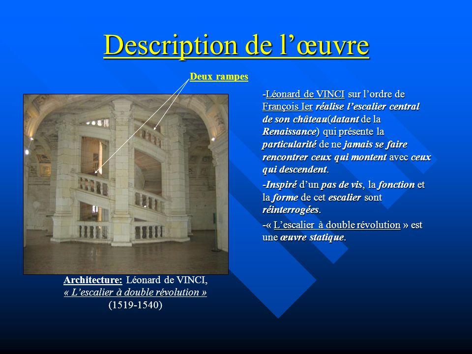 Description de lœuvre -Léonard de VINCI sur lordre de François Ier réalise lescalier central de son château(datant de la Renaissance) qui présente la
