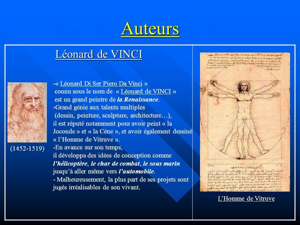 Auteurs Léonard de VINCI -« Léonard Di Ser Piero Da Vinci » connu sous le nom de « Léonard de VINCI » est un grand peintre de la Renaissance. -Grand g