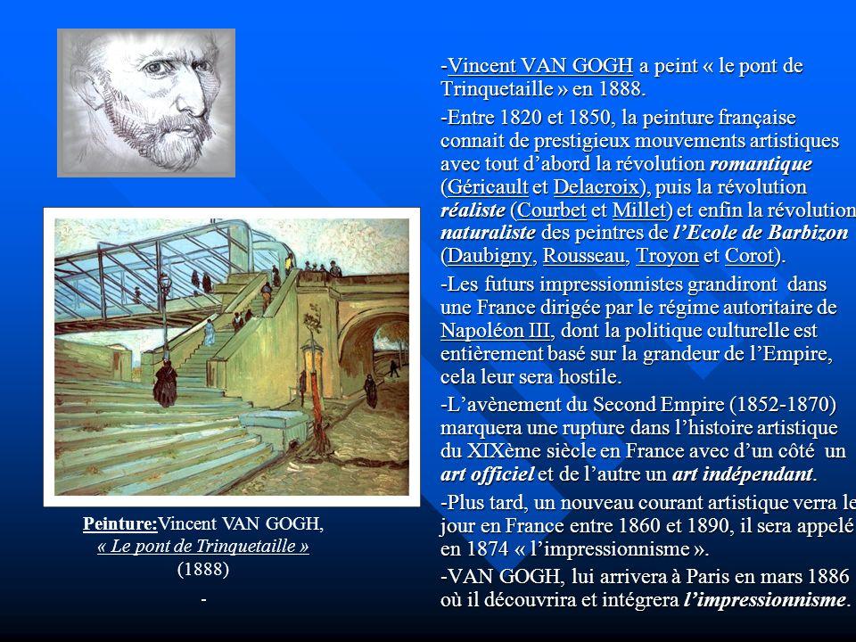 -Vincent VAN GOGH a peint « le pont de Trinquetaille » en 1888. -Entre 1820 et 1850, la peinture française connait de prestigieux mouvements artistiqu