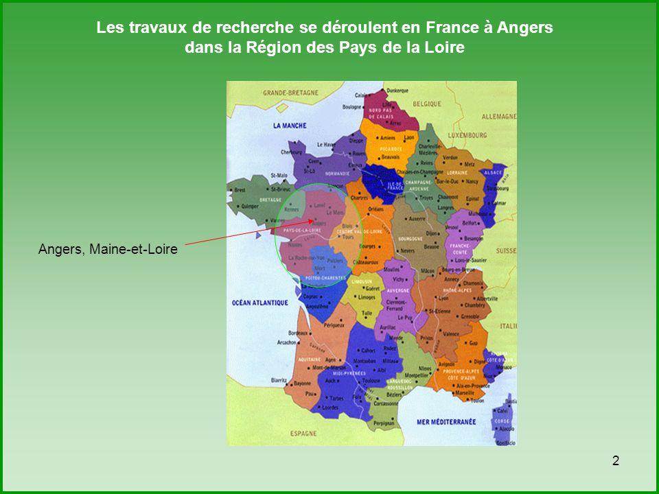 2 Les travaux de recherche se déroulent en France à Angers dans la Région des Pays de la Loire Angers, Maine-et-Loire
