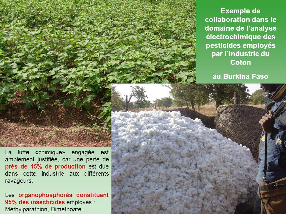3 Exemple de collaboration dans le domaine de lanalyse électrochimique des pesticides employés par lindustrie du Coton au Burkina Faso La lutte «chimique» engagée est amplement justifiée, car une perte de près de 15% de production est due dans cette industrie aux différents ravageurs.