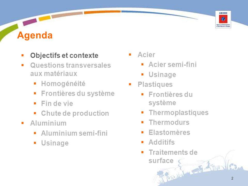 Agenda 2 Objectifs et contexte Questions transversales aux matériaux Homogénéité Frontières du système Fin de vie Chute de production Aluminium Alumin