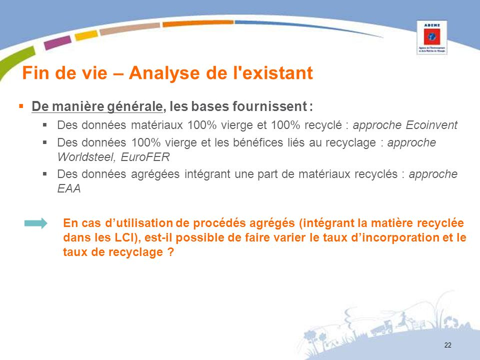 Fin de vie – Analyse de l'existant 22 De manière générale, les bases fournissent : Des données matériaux 100% vierge et 100% recyclé : approche Ecoinv