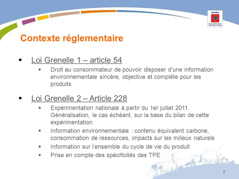 3 Contexte réglementaire Loi Grenelle 1 – article 54 Droit au consommateur de pouvoir disposer dune information environnementale sincère, objective et